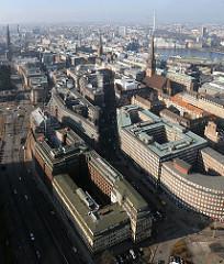 Luftbild vom Hamburger Kontorhausviertel - seit 2015 UNESCO-Welterbe.