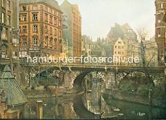 Ellerntorsbrücke über das Herrengrabenfleet in Hamburg Neustadt - die 1668 errichtet Brücke ist die zweitälteste Brücke in der Hansestadt Hamburg.