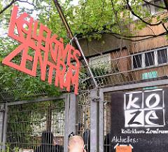 Kollektives Zentrum Hamburg, KoZe im Hamburger Münzviertel / Hammerbrook. Das Gebäude eines Kindergartens wurde von Aktivisten besetzt - das Gelände soll mit Wohnungen bebaut werden.
