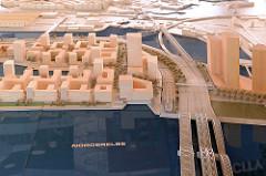 Entwurf des Quartier Elbbrücken in der Hamburger Hafencity - urbanes Geschäfts- und Wohnquartier am Baakenhafen / Norderelbe / Elbbrücken. Der städtebauliche Realisierungswettbewerb bezog sich auf 16,5 Hektar  mit 411 000 m² Bruttogeschossfläche