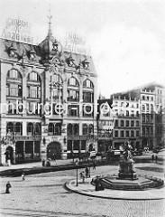 Historisches Foto - Gänsemarkt Hamburg, Verlagsgebäude vom General Anzeiger, Lessingdenkmal.