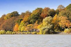 Goldener Herbst in der Hansestadt Hamburg - Herbstimmung mit prächtig gefärbten Herbstbäumen am Elbufer / Elbhang in Hamburg Othmarschen; Biergarten / Café an der Elbe mit Blick auf die vorbeifahrenden Schiffe.