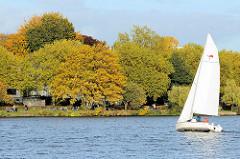 Ein Segelboot fährt hart am Wind auf der Hamburger Aussenalster - Herbstbäume am Winterhuder Ufer - Menschen sitzen in der Sonne an der Bellevue und blicken auf das Wasser.