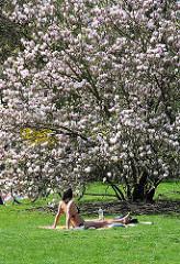 Magnolienbaum in Blüte - eine Frau liegt auf der Liegewiese im Hamburger Stadtpark und sonnt sich.