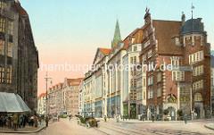 Altes Bild von der Hamburger Mönckebergstrasse - re. das Hulbehaus,  1911 erbaut, Architekt Henry Grell.