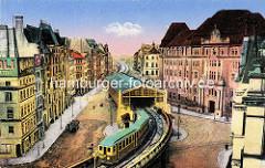 Historische Darstellung der Hochbahnhaltestelle am Rödingsmarkt in der Hamburger Altstadt - ein Hochbahnzug fährt Richtung Rathausplatz, re. das Gebäude der Oberfinanzdirektion, erbaut 1910 - Architekt Albert Erbe.