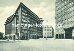 Blick zum Chilehaus und dem Sprinkenhof im Hamburger Kontorhausviertel.