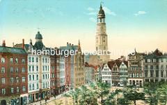 Historischer Blick über den Großneumarkt in der Hamburge Neustadt - Gründerzeitgebäude mit Dachturm / Kuppel - Geschäfte, z. B. Conditorei / Weinhandlung; Kirchturm der St. Michaeliskirche, Michel.