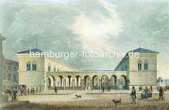 Historische Darstellung vom Hamburger Johanneum auf dem Domplatz - fertiggestellt 1840, Architekten  Carl Ludwig Wimmel und Franz Gustav Forsmann; Blick vom Speersort.