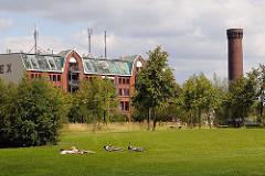 Liegewiese im Elbpark Entenwerder im Bereich des zugeschütteten Zollhafens - auch das ehem. Speichergebäude hat direkt am Hafenbecken des Rothenburgsorter Hafens gelegen - re. der historische Wasserturm der Hamburger Wasserwerke in Rothenburgso