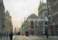Blick in die historische Kaiser Wilhelm Strasse im Hamburger Stadtteil Neustadt - im Hintergrund die Mündung in den jetzigen Brahmsplatz.