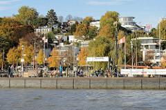 Fähranleger Neumühlen - im Hintergrund Herbstbäume zwischen Wohnhäusern am Elbhang in Hamburg Othmarschen.