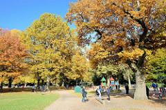 Kinderspielplatz beim Planschbecken im Hamburger Stadtpark - hohe Bäume mit bunt gefärbtem Herbstlaub säumen die Wege und den Platz.
