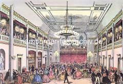 Historische Innenansicht vom Hamburger Conventgarten - Ballsaal ca. 1855.