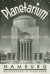 Werbeprospekt vom Planetarium Hamburg - Wasserturm im Stadtpark.