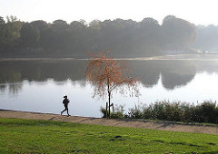 Früher Morgen im Hamburger Stadtpark - Joggerin im Nebel / Dunst am Stadtparksee.
