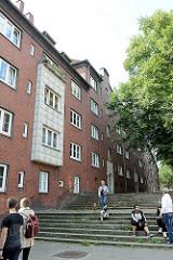 Ehem. Gängeviertel in der Hamurger Neustadt, Treppe vom Rademachergang zum Kornträgergang  - Wohnsiedlung, erbaut 1933 - 1937.