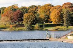 Stadtparksee in Hamburg Winterhude - im Vordergrund ein Ausschnitt vom Naturbad / Freibad mit der Bronzeskulptur Zentaur Triton, im Hintergrund prächtig herbstlich bunte Bäume.