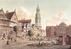 Historische Ansicht vom Grossneumarkt im Hamburger STadtteil Neustadt; Fachwerkhäuser und Turm der St. Michaeliskirche.