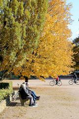 StadtparkbesucherInnen sonnen sich auf einer Parkbank unter Herbstbäumen am Modellbootebecken im Hamburger Stadtpark.