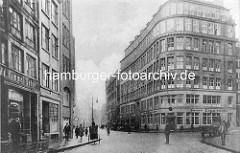 Altes Foto aus dem Hamburger Kontorhausviertel, Altstadt Hamburgs - Miramar Haus am Schopenstehl, 1922 errichtet - Architekt Max Bach.