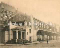 Historische Darstellung von der Hochbahnhaltestelle Rödingsmarkt - Stadtteil Hamburg Altstadt.