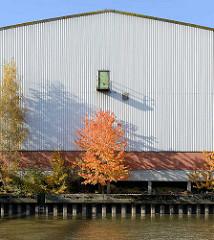 Herbst im Hamburger Hafen - bunte Herbstbäume vor einem Lagerhaus im Peutekanal von Hamburg Veddel.
