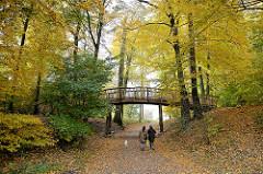 Historische Knüppelbrücke im Jenischpark von Hamburg Othmarschen - erstmals 1787 errichtet; SpaziergängerInnen mit Hund im Herbstwald.
