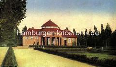 Historische Darstellung der Trinkhalle und dem Kurgarten im Hamburger Stadtpark.