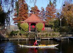 Sumpfzypressen auf der Liebesinsel im Hamburger Stadtpark; die Zypressensind im  Herbst rot gefärbt - rotes Häuschen, Kanu in Fahrt.