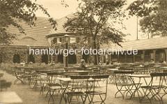 Biergarten vom Landhaus Walter im Stadtpark Hamburg Winterhude.