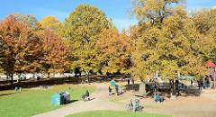 Blick über den Kinderspielplatz beim Planschbecken im Hamburger Stadtpark - hohe Bäume mit bunt gefärbtem Herbstlaub säumen die Wege und den Platz; Kinder spielen in der Sonne.