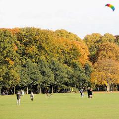 Sonniger Herbsttag in Hamburg - herbstliche Bäume an der Grossen Wiese, ein bunter Drachen am Himmel.