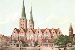 Historische Ansicht vom Alten Mariendom in der Altstadt Hamburgs, dahinter der Kirchturm der Petrikirche, lks. die St. Jacobikirche.