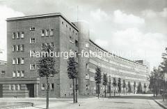 Altes Foto aus dem Glindweg - Wohnhäuser in der Jarrestadt von Hamburg Winterhude; Neues Bauen, Architekt Wilhelm Behrens.
