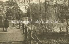 Historische Aufnahme vom Ententeich im Hamburger Stadtpark.