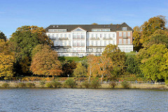 Gebäude Weisses Hotel zwischen Herbstbäumen am Elbhang in Hamburg Nienstedten; Fahrradfahrer und Spaziergänger auf dem Elbweg am Elbufer.