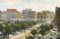 Historische Luftaufnahme vom Hamburger Grossneumarkt, Stadtteil Neustadt; Strassenbahnen und Pferdefuhrwerke fahren auf den Strassen; Handkarren sind am Strassenrand abgestellt.