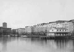 Alte Ansicht vom Jungfernstieg an der Binnenalster in der Hansestadt Hamburg - neue Bebauung nach dem Brand von 1842.