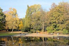 Herbstbäume am Teich im Hamburger Jacobipark in Eilbek.