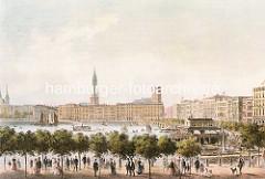 Historische Darstellung von der wiederaufgebauten Hansestadt Hamburg nach dem Grossen Brand von 1842, dem Kirchturm der St. Petrikirche fehlt noch die Kirchturmspitze. Im Vordergrund lustwandeln die Hamburger an der Promenade vom Neuen Jungfernst