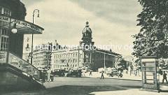 Altes Bild vom Gebäude der Oberpostdirektion am Hamburger Stephansplatz, fertiggestellt 1887 - Entwürfe Julius Carl Raschdorff / Skulpturen Bildhauer Engelbert Pfeiffer.