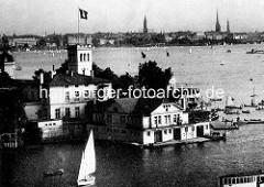 Historische Luftaufnahme vom Uhlenhorster Fährhaus - im Hintergrund Kirchtürme der Hansestadt Hamburg.