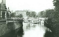Historischer Blick vom Hofwegkanal zum Mühlenkamper Anleger in Hamburg Winterhude.