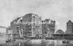 Historische Gebäude am Jungfernstieg / Binnenalster in Höhe Kleine Alster - im Hintergrund das Gebäude vom alten Johanniskloster. Lastkähne, Segelschiffe und Ruderboote auf dem Wasser.