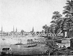 Altes Bild von der Hamburger Alster - Gasthaus Zum Raben, Holzsteg mit Ruderbooten - Reiter auf seinem Pferd; im Hintergrund das Panorama mit Kirchtürmen vom alten Hamburg.