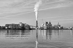 Blick über die Süderelbe zum Kohlekraftwerk in Hamburg Moorburg - Rauch steigt aus dem Schornstein.