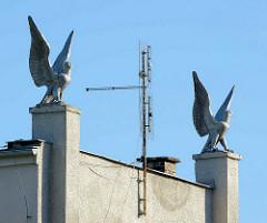 Falken, Greifvögel mit aufgestellten Schwingen - SOKOL Gebäude in Terezin; Sozialistische Architektur.