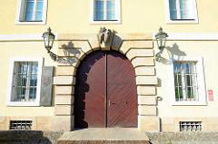 Eingang Magdeburger Kaserne in Terezin, Theresienstadt.