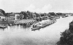 Historische Darstellung der Havel bei Oranienburg - Binennschiffe fahren auf dem Kanal.